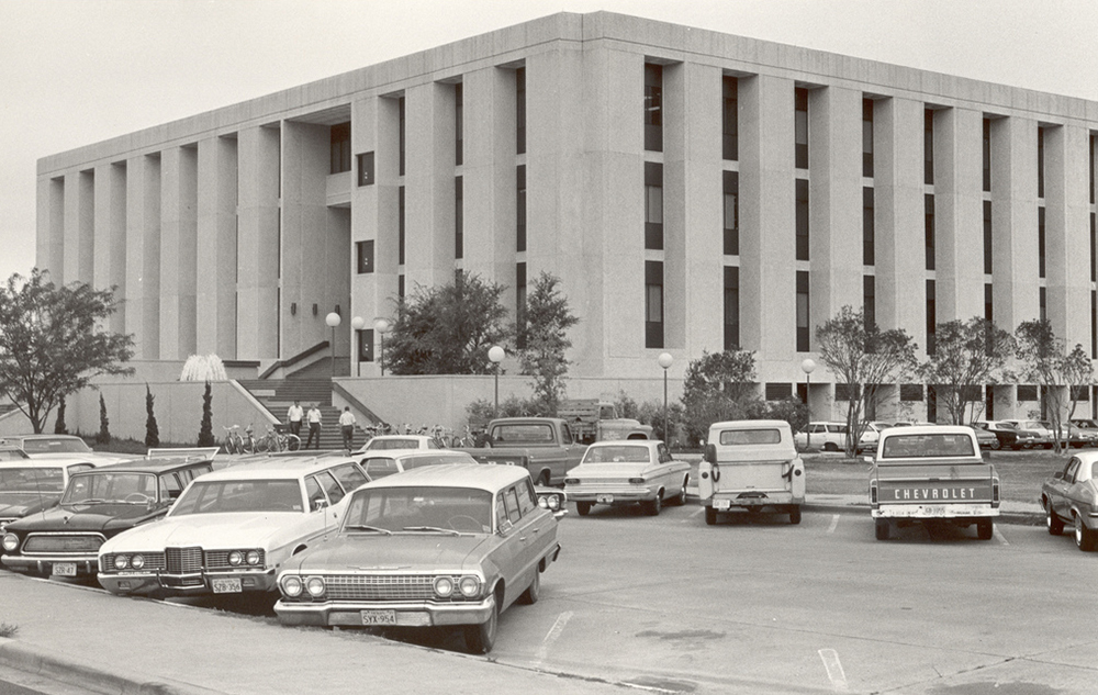 historical exterior photo of the Zachry and parkinglot